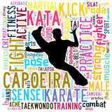 Text Cloud of Martial Arts with shape Royalty Free Stock Image