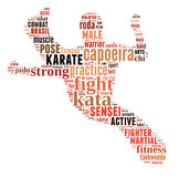 Text Cloud of Martial Arts with shape Stock Image