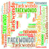 Text cloud of taekwondo with shape Stock Photos