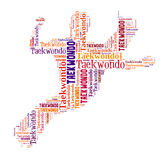 Text cloud of taekwondo with shape Stock Photography