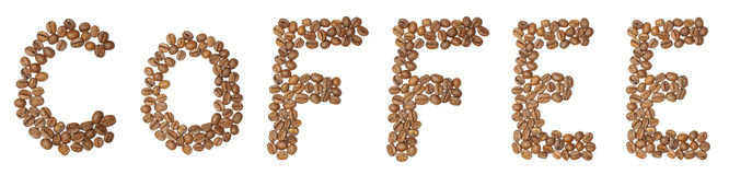 Text coffee arranged from coffee beans isolated on the white background Royalty Free Stock Photos