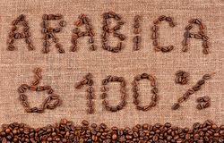 Text of coffee beans. Frame of coffee beans and text hundred percent arabica Royalty Free Stock Photography