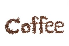 Text Coffee beans on a white background Stock Image