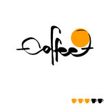 The text coffee written, vector illustration. The calligraphic text coffee written, vector illustration Royalty Free Stock Photos