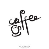 The text coffee written, vector illustration. The calligraphic text coffee written, vector illustration Stock Photography