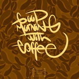 The text coffee written, vector illustration. The calligraphic text coffee written, vector illustration Royalty Free Stock Images