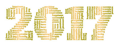 Text collage 2017. Vector text collage. Number of New Year made up of greeting words Stock Photos
