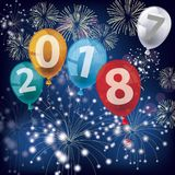 4 Colored Balloons 2018 2017 Fireworks. Text 2018 with colored balloons and fireworks on the blue background stock illustration