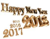 Text com um ano novo 2018 e deixar os primeiros anos em um fundo branco Imagem de Stock
