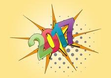 2017 text comics. Illustration of 2017 text year, cartoon effect Stock Photos
