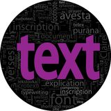 Text concept  black backgroung in word tag cloud Stock Photo