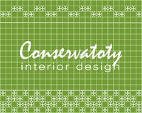 Text Conservatory interior design. Tile design. Green square tiles with decor. Royalty Free Stock Photo