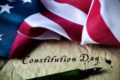 Text constitution day and flag of USA Stock Photography