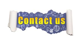 The text contact us behind torn white paper. The text contact us with business and web icons behind torn white paper royalty free stock images