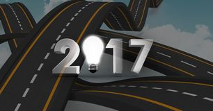 2017 text containing light bulb against a composite image 3D of overlapping roads Stock Photos
