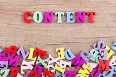 Text `Content` of colored wooden letters royalty free stock image