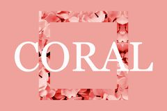 Text `CORAL` with flower coral decoration. vector illustration
