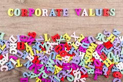 Text `Corporate values` of colored wooden letters royalty free stock photo
