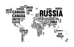 Text country name world map typography design Stock Images