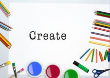 Text create with water colors and coloring pencil on white background Stock Images