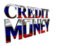 Text credit money on a white background. 3d illustration. Text credit money on a white background Royalty Free Stock Image