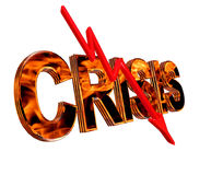 Text crisis with a red arrow down on a white background. 3d rendering. Text crisis with a red arrow down on a white background Royalty Free Stock Photos
