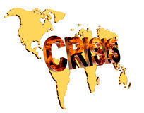 Text crisis on a world map background on a white background Royalty Free Stock Photos