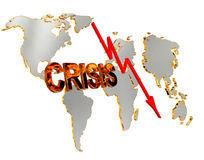 Text crisis on a world map background on a white background Royalty Free Stock Photo