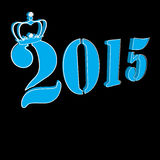 2015 Text with crown on black background Stock Photography