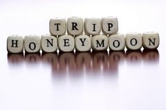 Text Cube Honeymoon From Wooden On A Table With Word In English Stock