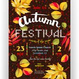 Autumn festival poster template. Text customized for invitation for celebration. Different letters, colorful fall leaves and fireworks background. Vector Royalty Free Stock Image