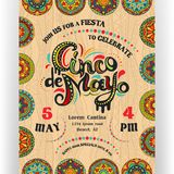 Cinco De Mayo announcing poster template. Text customized for invitation for fiesta party. Ornate lettering and Mexican style rich ornamented border and vector illustration