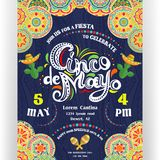 Cinco De Mayo announcing poster template. Text customized for invitation for fiesta party. Ornate lettering, sombreros and cactuses. Mexican style rich
