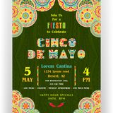 Cinco De Mayo announcing poster template. Text customized for invitation for fiesta party. Ornate letters and Mexican style rich ornamented border and royalty free illustration