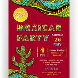 Mexican party announcing poster template. Text customized for invitation. Ornate letters and cactus. Ethnic ornaments for border and background. Vector Royalty Free Stock Image