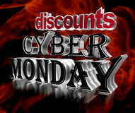 Text Cyber Monday discount on a fiery background. Closeup Royalty Free Stock Photos