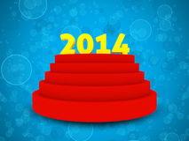 2014 text on cylinder podium. Blue bokeh background and 3 steps podium with 2014 text on top Stock Image