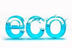 Text 3D Eco für Abwehr-Ökologiekonzept auf weißem Hintergrund Stockbilder