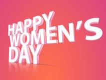 Text 3D für Feier der glücklichen Frauen Tages Stockbild
