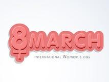 Text 3D für Feier der internationalen Frauen Tages Lizenzfreie Stockfotos