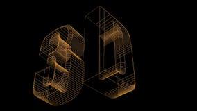 text 3d framför wireframe vektor illustrationer