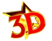 Text 3d golden star with white background. 3d illustration. Text 3d golden star with white background Stock Images