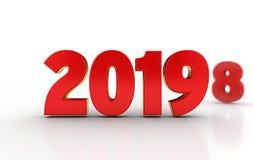 text 2019 3D i rött och guld- med 8na av 2018 stilla synliga i bakgrunden stock illustrationer