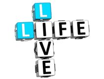 Text 3D Live Life Crossword Stockfotografie