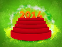 2014 text on 3d, over podium isolated green background Royalty Free Stock Image