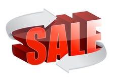 Text 3d Verkauf und ändernde Pfeile Lizenzfreie Stockfotos