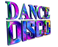 Text dance disco on a white background. 3d illustration. Text dance disco on a white background Stock Photos