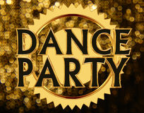 Text dance party on a golden circle on a brilliant background Royalty Free Stock Images