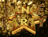 Text dance party on a golden star on a brilliant background Royalty Free Stock Images