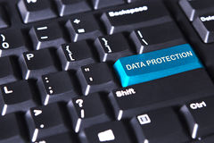 Text of data protection on blue button Stock Image